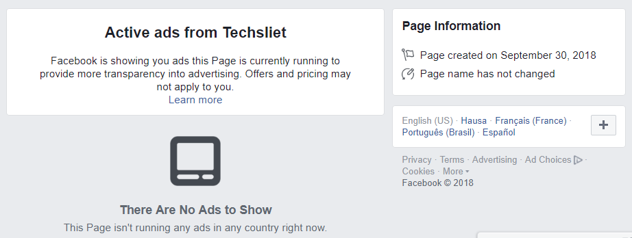 Facebook Added Info and Ads Tab to Pages